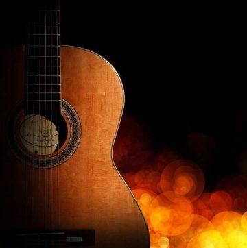 guitar, bokeh, flame
